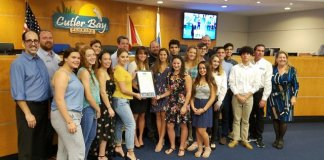 Cutler Bay High Swim Team recognized by town council