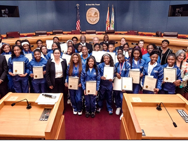 Richmond-Perrine Giants Varsity Dance Team honored by county commission