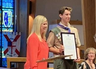 Mitchell Landsea earns Eagle Rank,honored by Mayor Cunningham