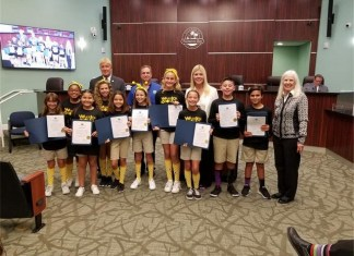 Village council presents proclamation to Westminster Christian robotics team