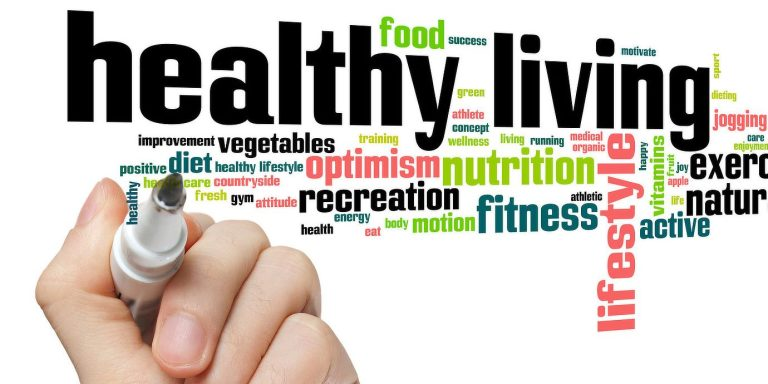 An image of different words about healthy living