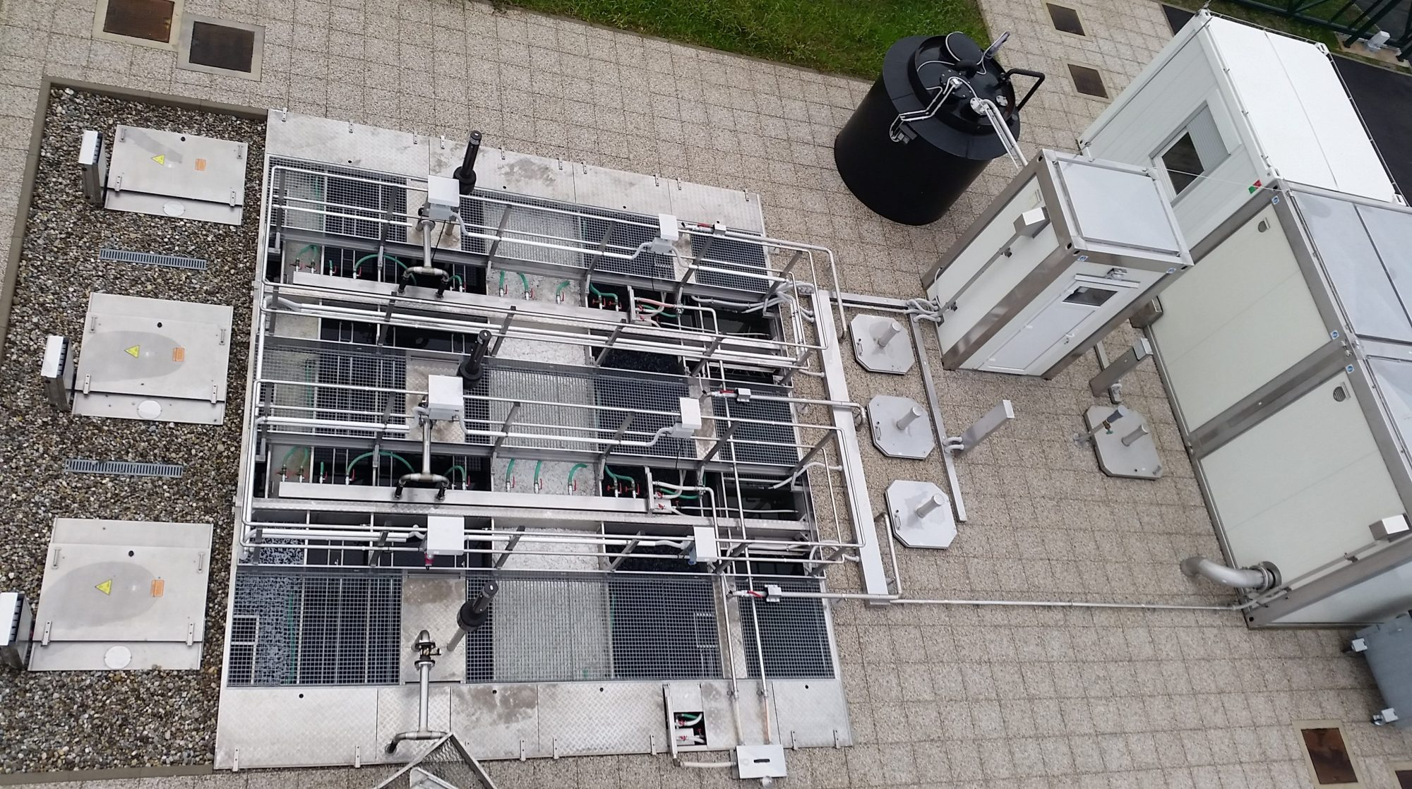 Overhead view of in ground wastewater treatment plant