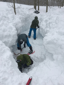 digging a hole in the snow