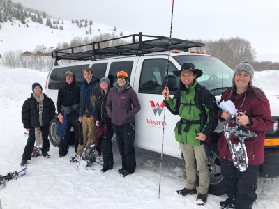 group ready to measure snow