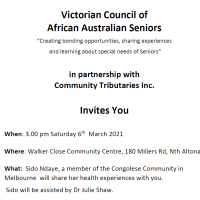 Victorian Council of African Australian Seniors - function on March 6