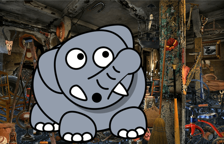 Cartoon elephant trashes room