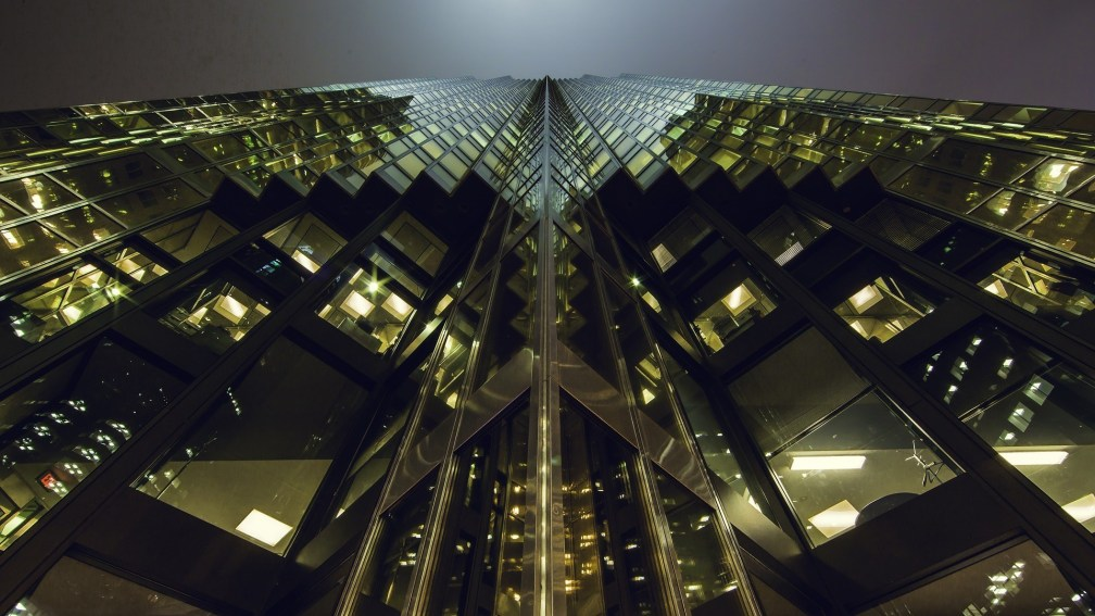 view of skyscraper from below