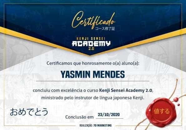 Certificado de Conclusão de Curso Kenji Sensei Academy