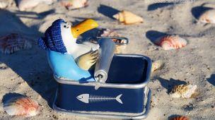 Imagem cegonha dentro da lata de sardinha, descarte de óleo de sardinha