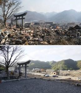 Terremoto sucedido en Japon en 2011, antes y despues del suceso. La fao se encarga de ayudar a las zonas que sufren estas consecuencias