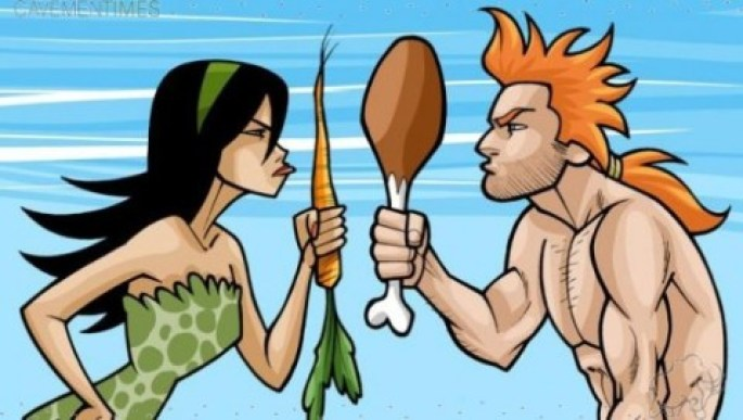 mujer vegetariana hombre carnivoro