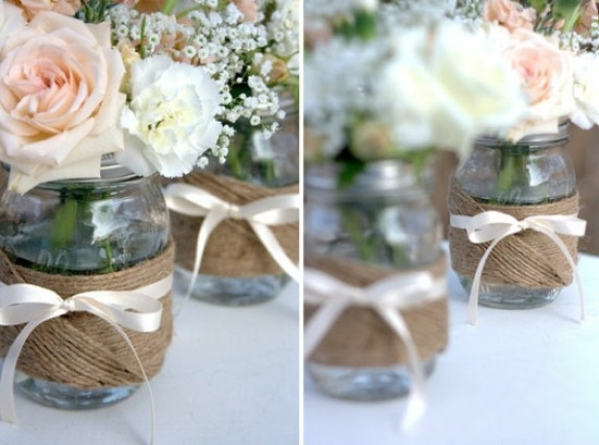 C mo hacer centro de mesa rustico con frasco e hilo sisal for Centro de mesa rustico