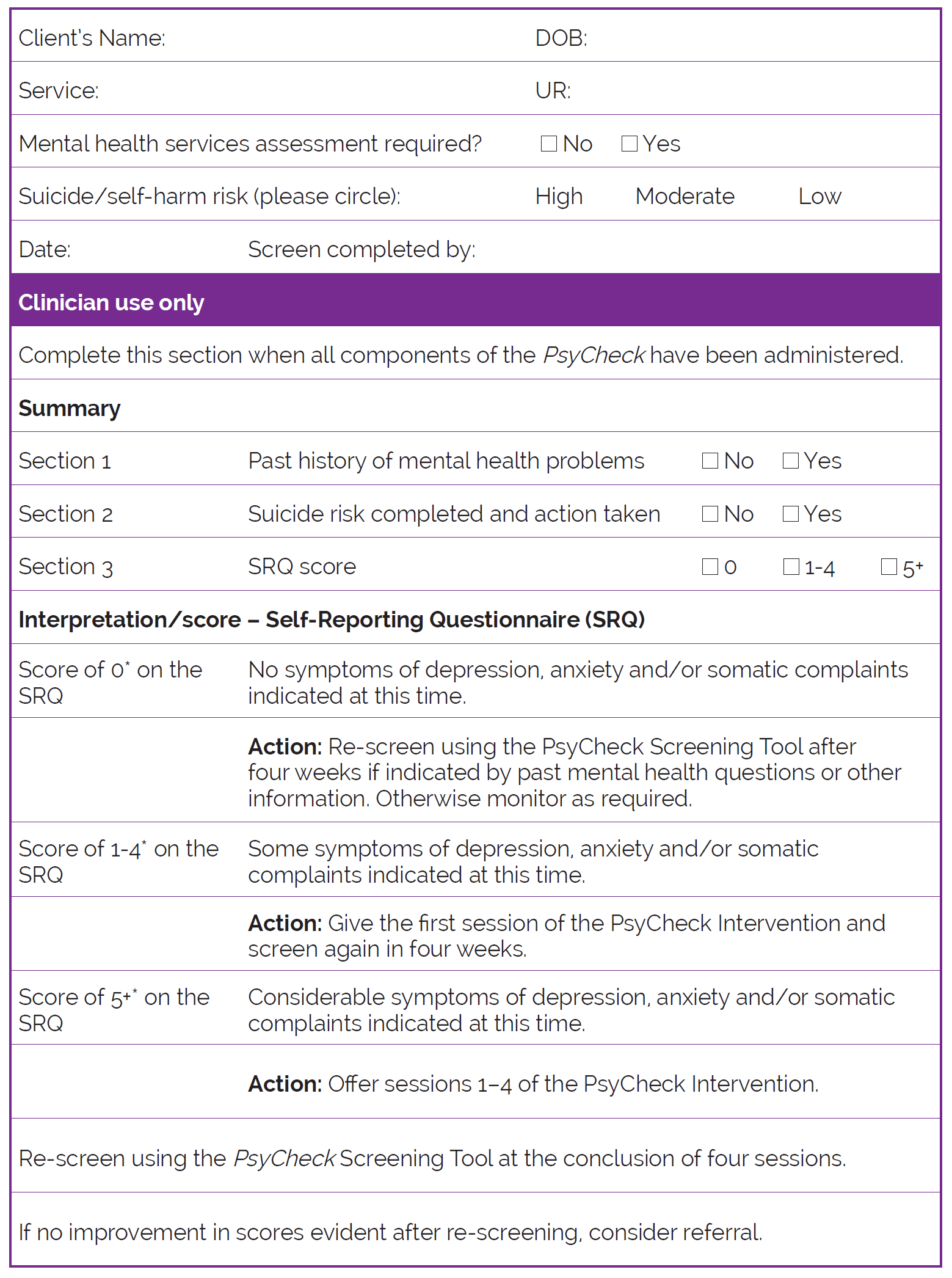 This Section Provides A Form For The Psycheck Screening Tool