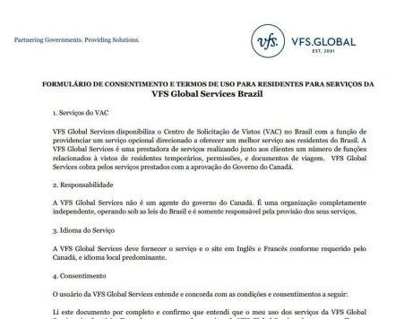 Visto canadense, Canadá, formulário de consetimento do VAC - Foto Reprodução da Internet