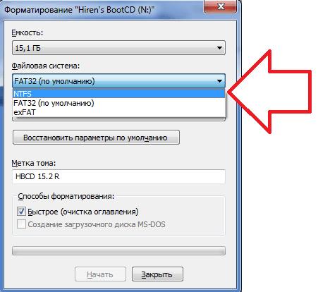 Een bestandssysteem selecteren in het formatteringsvenster