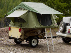 Compact Camping Trailer with Roof Top Tent at French Creek