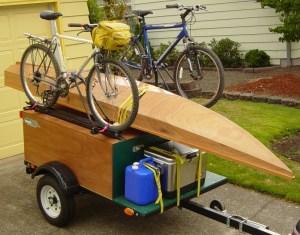 Explorer Box Camping Trailer DIY Compact Camping Trailer with kayak and bikes