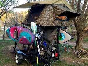 Camping trailer with roof top tent and toy hauler