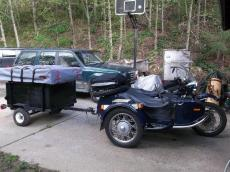 Buck's Tent Topped Motorcycle Trailer with sidecar