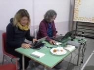 La sala stampa di Compagni di cammino, a Fiumedinisi in una palestra