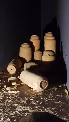 Replica of jars containing Dead Sea scrolls.