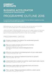 Business Accelerator Leadership Programme Outline
