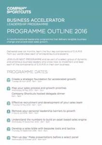Business Accelerator Leadership Programme Outline