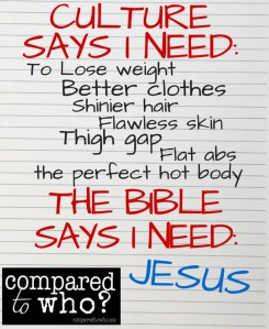 Culture says I need to lose weight, better clothes, thigh gap and flat abs, the Bible says I need Jesus Image