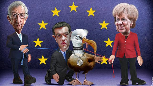 Karykatura przedstawiająca greckiego premiera - Alexisa Tsiprasa trzymanego na smyczy przez Angelę Merkel oraz jean Claude'a Junckera / Flickr.com