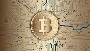 logo Bitcoinia na płytce scalonej