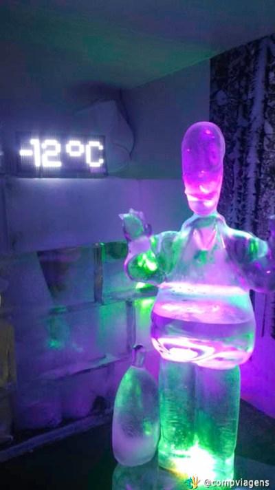Termômetro do Ice Bar marcando - 12 graus