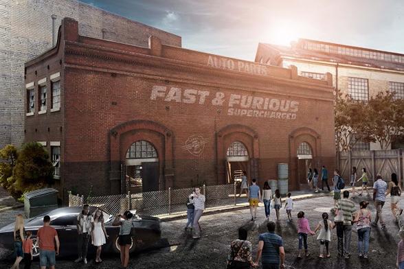 Interpretação artística e conceitual da atração Fast & Furious – Supercharged, a ser lançada no Universal Studios Florida