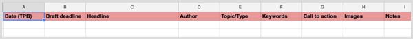 blog content calendar columns with color-coding