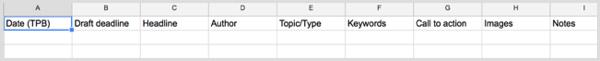blog content calendar columns
