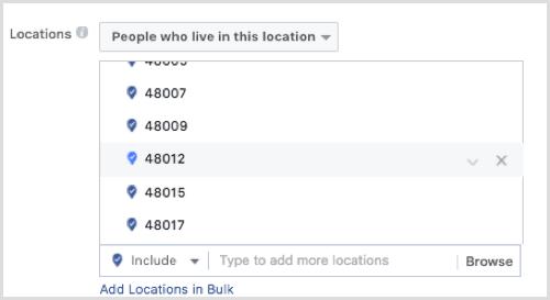 Facebook ad targeting by zip code.