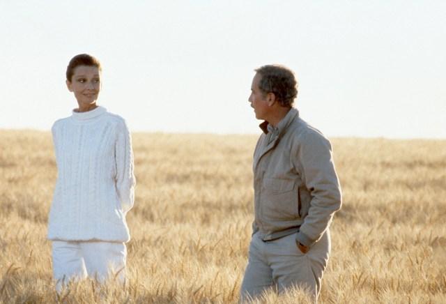 Hepburn e Richard Dreyfuss sul set di Always - Per sempre, 1989, diretto da Steven Spielberg