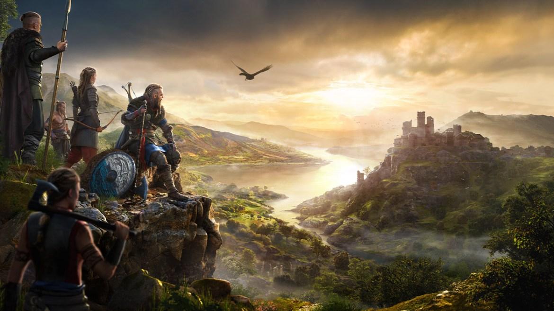 Cinco personajes de Assassin's Creed Valhalla mirando hacia un valle