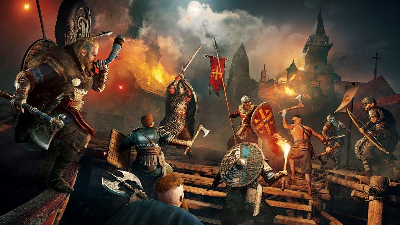 Un grupo de personas luchando en Assassin's Creed Valhalla