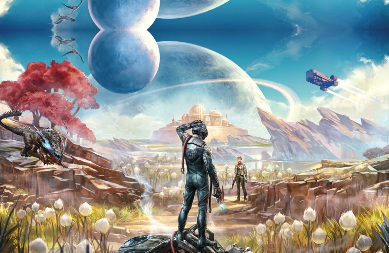 The Outer Worlds. Un viajero desorientado mira a una mujer en la distancia en un planeta alienígena.