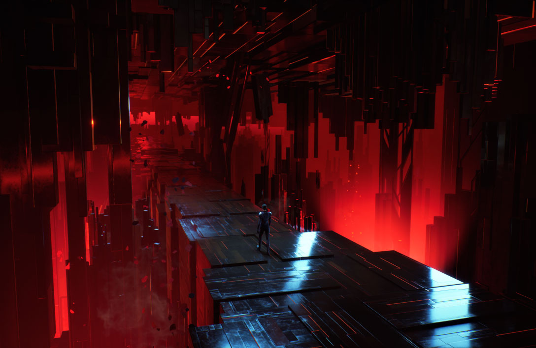 Una figura solitaria camina por un puente compuesto por bloques metálicos iluminados por luces rojas.