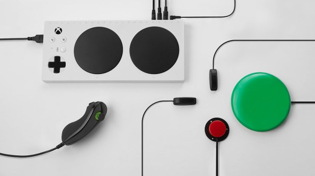 Top view of the Xbox Adaptive Controller with additional accessories connected to the controller