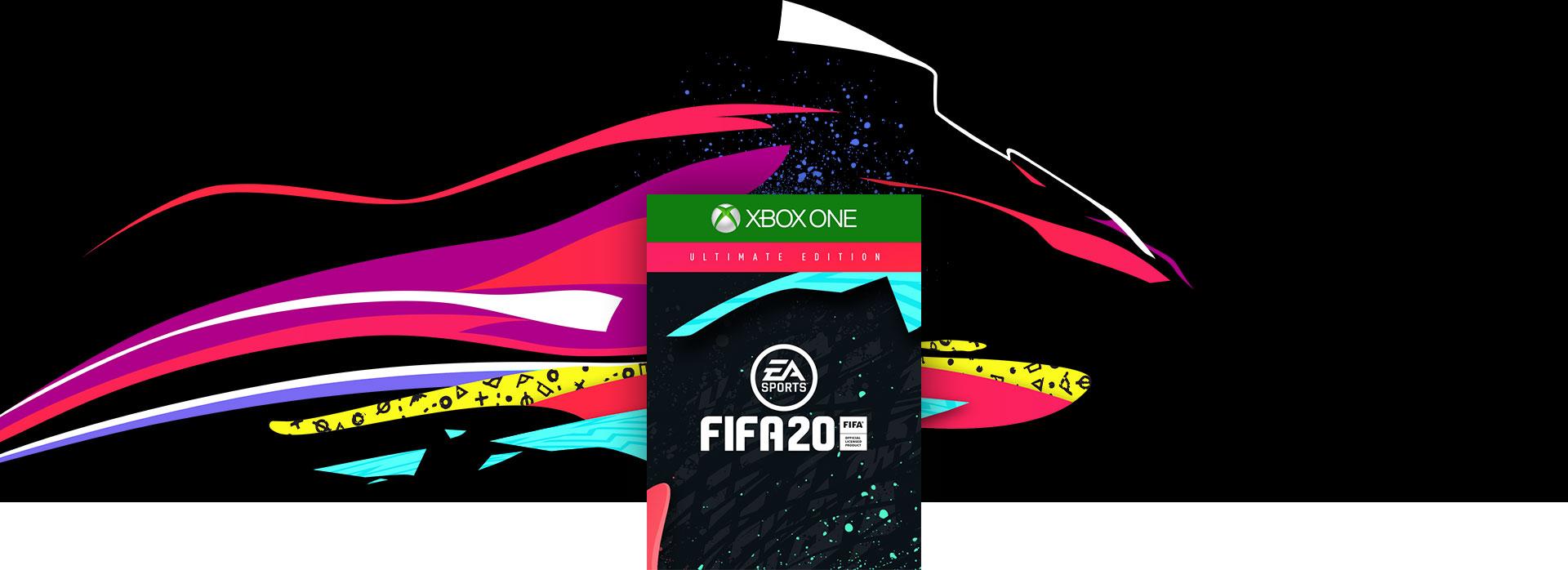 Image de la boîte de FIFA20 avec des lignes colorées et des éclaboussures en arrière-plan