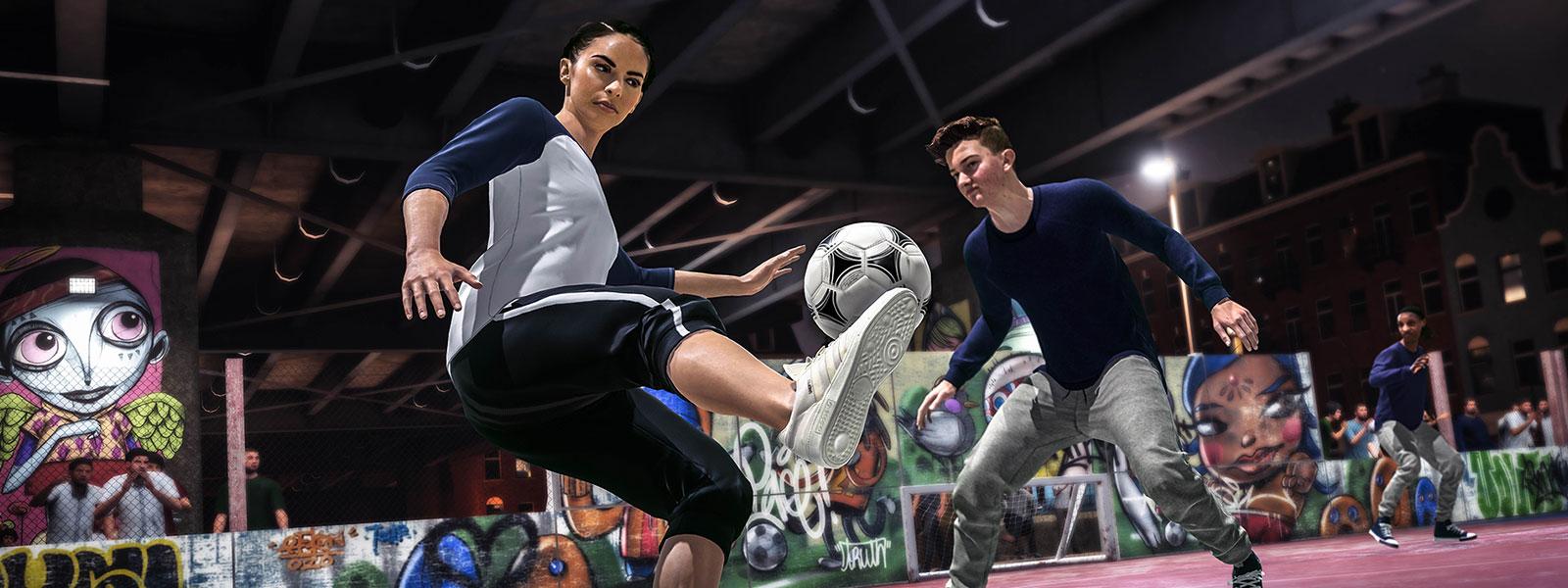 Deux personnages jouant au football de rue