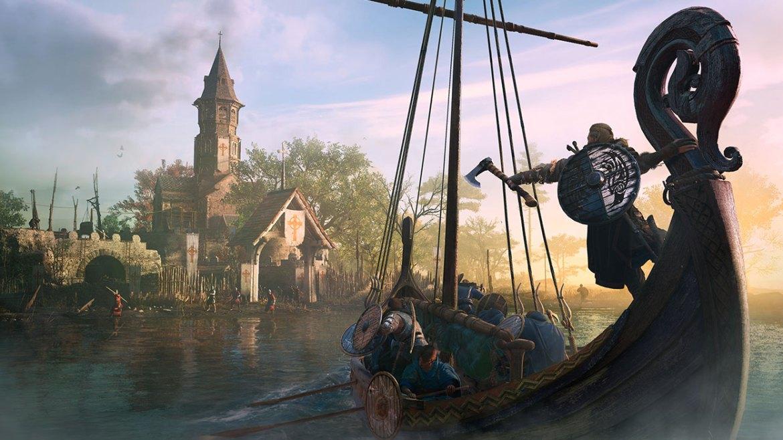 Barco vikingo que se dirige hacia la costa de Assassin's Creed Valhalla