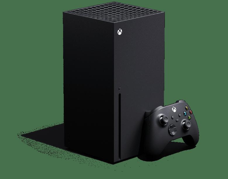 Imagen en miniatura: ángulo izquierdo de Xbox Series X con un control inalámbrico Xbox