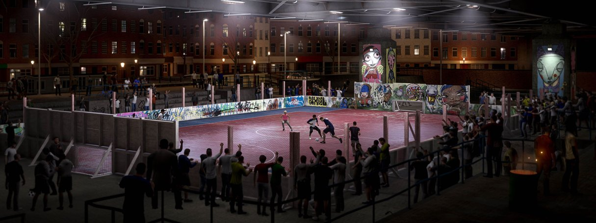 Personnages jouant au football de rue dans un terrain clôturé avec un large public