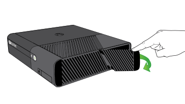 An illustration of a hand opening the hard drive cover on an Xbox 360 E console