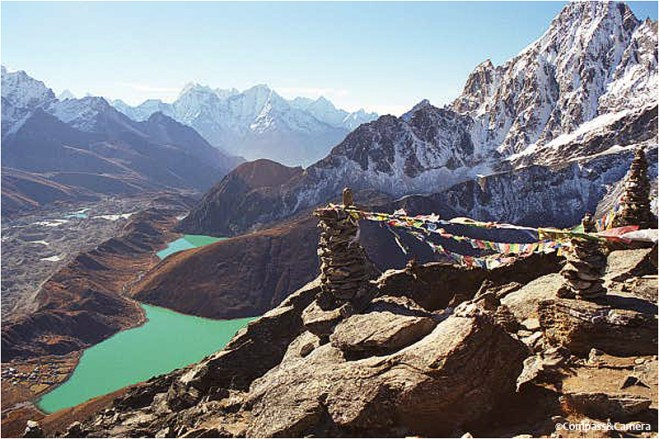 Gokyo (bottom left) and its spectacular lakes, from my trip in 2000