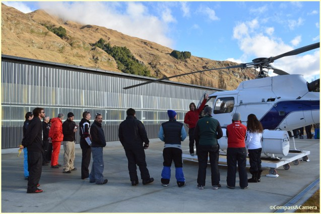 Safety briefing at the heli-pad