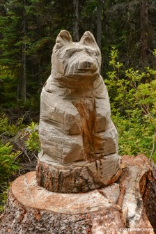 Carved critters along the trail